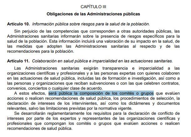 Título 1, capítulo 3 artículo 11 de la ley 33/2011 de Salud Pública