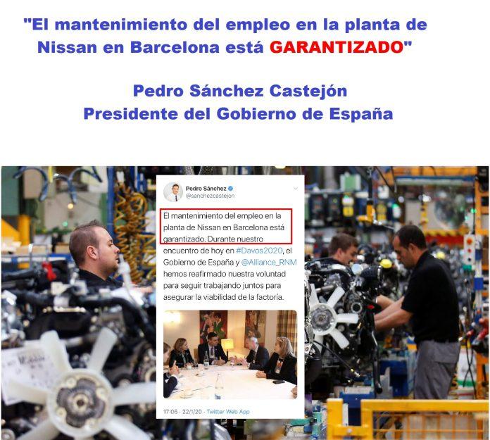 Pedro Sánchez garantiza el empleo en la planta de Nissan Barcelona