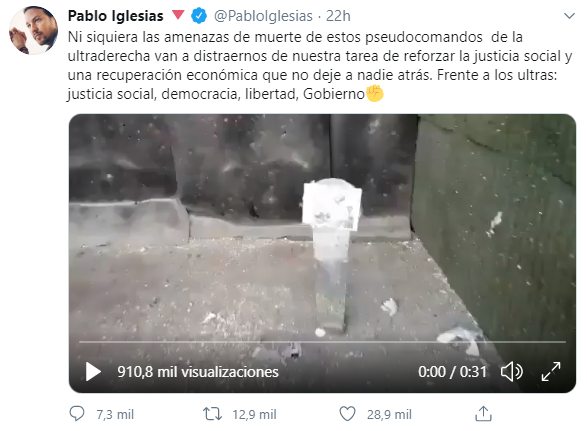 Tuit de Pablo Iglesias sobre el vídeo de unos idiotas