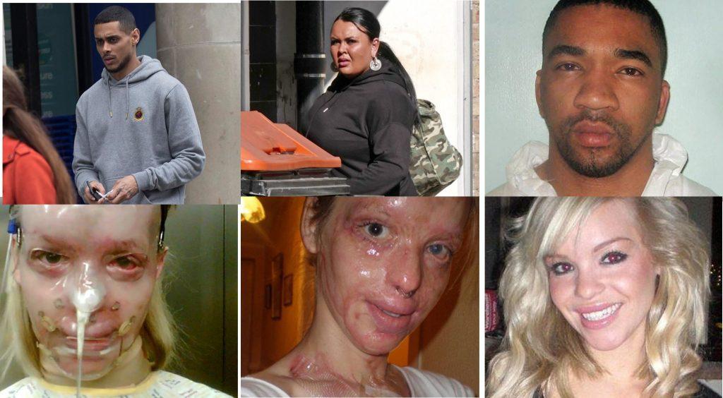 Katie Piper y los criminales Daniel Lynch y Stefan Sylvestre y la mujer de Sylvestre