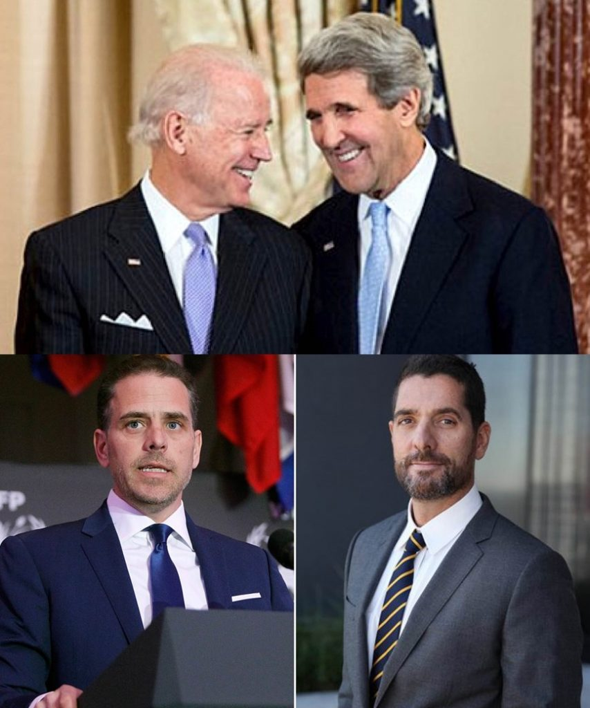 Joe Biden y John Kerry y abajo sus hijos Hunter y Chris