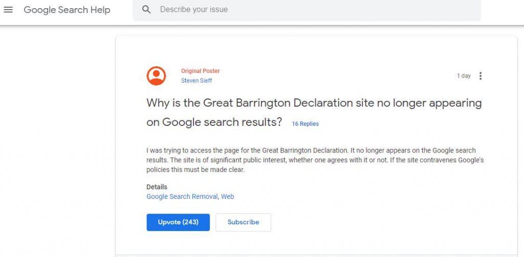 Declaración de Great Barrington desaparecida