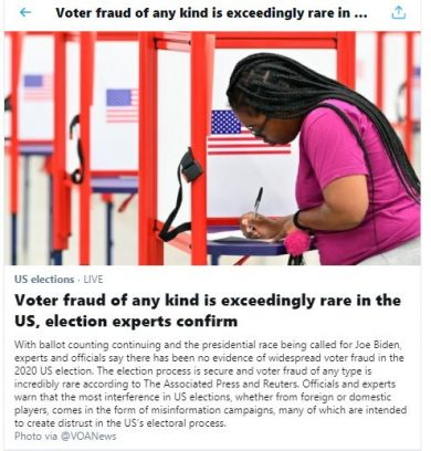 Así despacha Twitter los tuits que hablan de fraude electoral