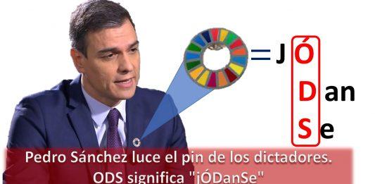Pedro Sánchez luce el pin de los dictadores