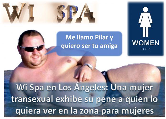 Wi Spa Los Ángeles una mujer pasea con su verga al aire por la zona para féminas