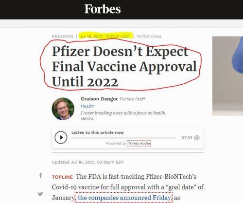Pfizer reconoce que no espera la aprobación final de su vacuna contra el COVID hasta 2022